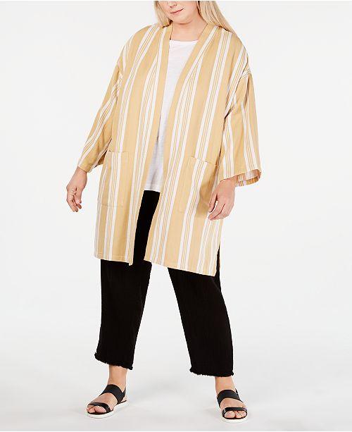 Eileen Fisher Plus Size Cotton Striped Kimono Jacket