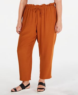 Eileen Fisher Plus Size Paperbag-Waist Straight-Leg Pants