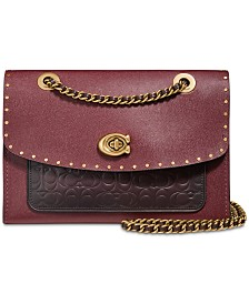 COACH Parker Shoulder Bag in Signature Leather with Rivets