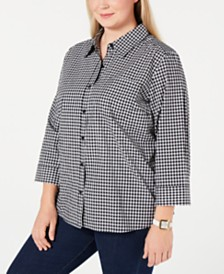 b563450150e Karen Scott Plus Size Cotton Gingham Button-Up Shirt