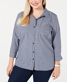 Karen Scott Plus Size Cotton Gingham Button-Up Shirt, Created for Macy's