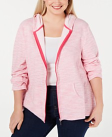 Karen Scott Plus Size Space-Dyed Hoody, Created for Macy's