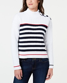 Tommy Hilfiger Cotton Mock-Neck Cable-Knit Sweater, Created for Macy's