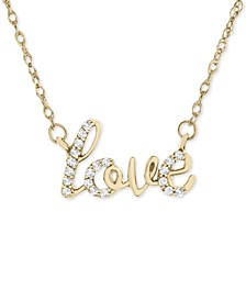 "Diamond Scripted Love 17"" Pendant Necklace (1/10 ct. t.w.) in 14k Gold, Created for Macy's"