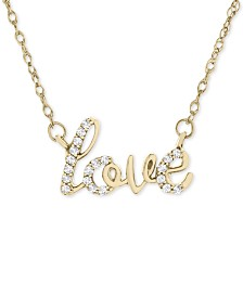 "Wrapped™ Diamond Scripted Love 17"" Pendant Necklace (1/10 ct. t.w.) in 14k Gold, Created for Macy's"