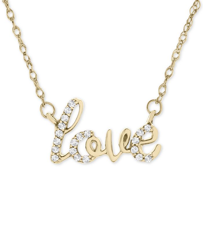 """Wrapped - Diamond Scripted Love 17"""" Pendant Necklace (1/10 ct. t.w.) in 14k Gold"""