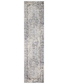 "Liverpool LVP-2302 Charcoal 2'7"" x 10'3"" Runner Area Rug"