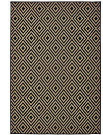 "Marina 2335K Black/Tan 7'10"" x 10'10"" Indoor/Outdoor Area Rug"