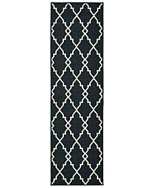 """Oriental Weavers Marina 7763K Black/Ivory 2'3"""" x 7'6"""" Indoor/Outdoor Runner Area Rug"""