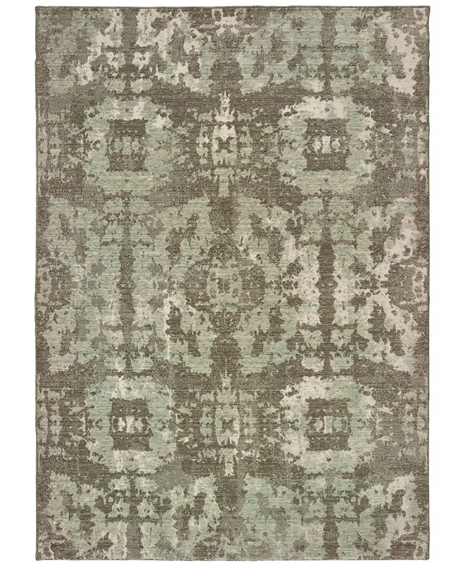 "Oriental Weavers Montage 4928E Grey/Green 6'7"" x 9'6"" Area Rug"