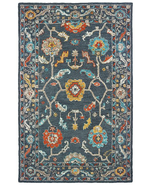 "Oriental Weavers Zahra 75501 Blue/Gold 2'6"" x 8' Runner Area Rug"