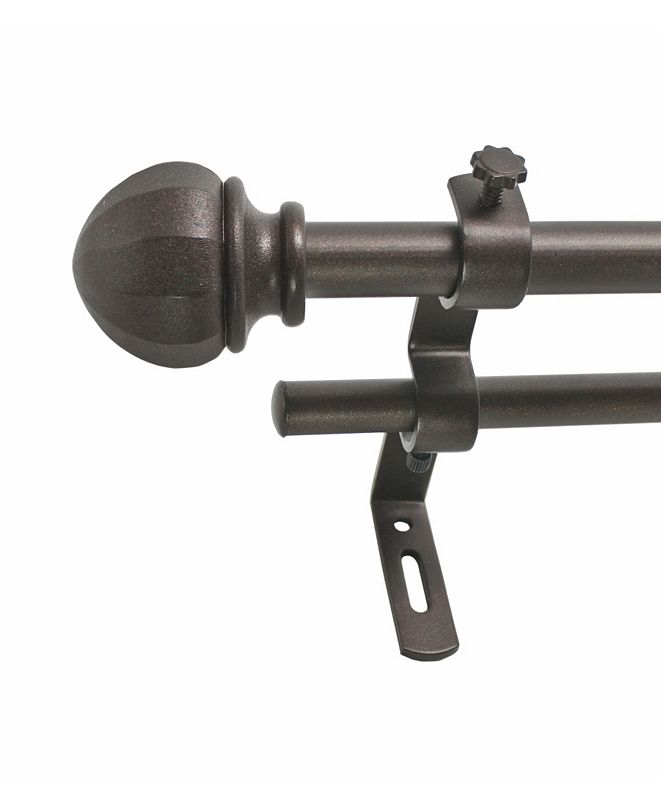 Decopolitan Montevilla 5/8-Inch Facet Ball Double Telescoping Curtain Rod Set, 26 to 48-Inch, Toasted Copper