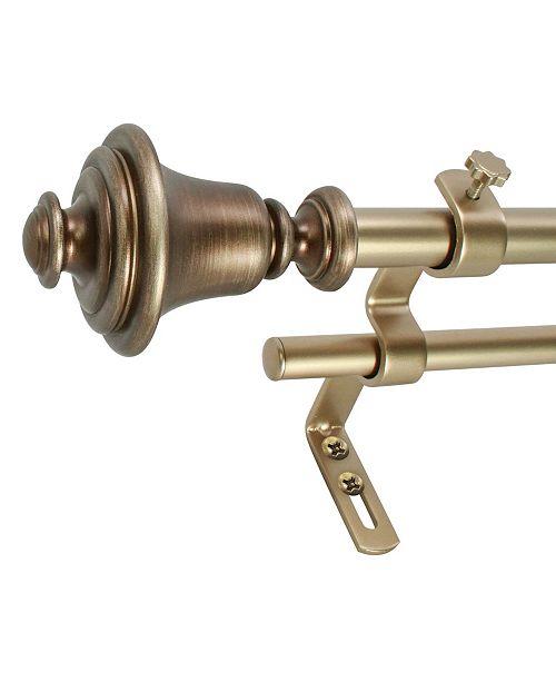 Decopolitan Montevilla 5/8-Inch Bell Double Telescoping Curtain Rod Set, 26 to 48-Inch, Antique Vintage Brass