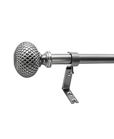 1-Inch Textured Knob Telescoping Curtain Rod Set, 42-120-Inch, Venetian Silver
