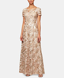 Alex Evenings Petite Sequin-Detail Short-Sleeve Gown