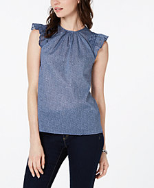 MICHAEL Michael Kors Cotton Garden Bud Ruffle Top