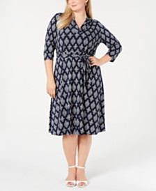 Charter Club Plus Size Printed Midi Dress, Created for Macy's
