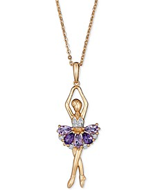 "Multi-Gemstone Ballerina 18"" Pendant Necklace (1-5/8 ct. t.w.) in 14k Gold-Plated Sterling Silver"