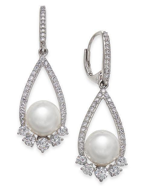 Eliot Danori Silver-Tone Crystal & Imitation Pearl Drop Earrings, Created for Macy's