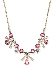 "Multi-Crystal Flower Statement Necklace, 16"" + 1"" extender, Created for Macy's"