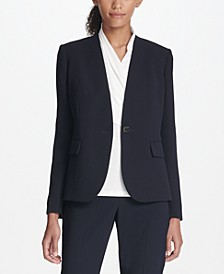 Collarless One-Button Blazer