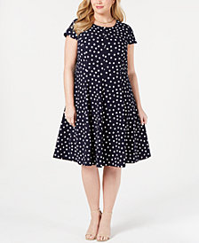 Jessica Howard Plus Size Polka Dot Fit and Flare Dress