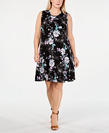Style & Co Plus Size Floral-Print Swing Dress, Created for Macy's