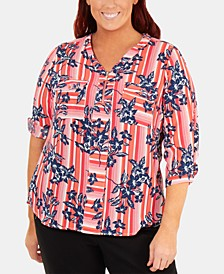 Plus Size Floral-Print Zip Blouse
