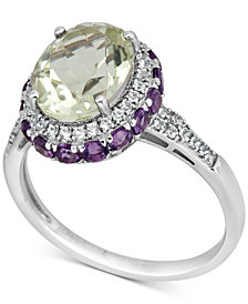 Prasiolite (4-1/2 ct. t.w.), Amethyst (1-1/2 ct. t.w.) and White Topaz (1/4 ct. t.w.) Ring in Sterling Silver