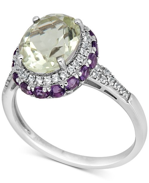 Macy's Prasiolite (4-1/2 ct. t.w.), Amethyst (1-1/2 ct. t.w.) and White Topaz (1/4 ct. t.w.) Ring in Sterling Silver
