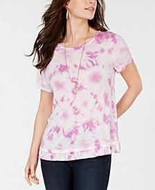 Tie-Dye Ruffled-Hem T-Shirt, Created for Macy's