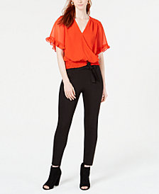 Bar III Surplice Blouse with Skinny Pants, Created for Macy's