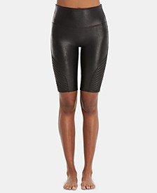 Faux-Leather Moto Bike Shorts