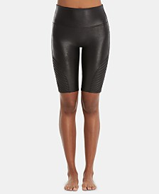 SPANX Faux-Leather Moto Bike Shorts