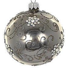 "Graphite 4 Pc Set of Mouth Blown & Hand Decorated European 4"" Round Holiday Ornaments"