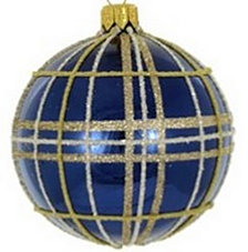 "Navy & Gold Plaid 4 Pc Set of Mouth Blown & Hand Decorated Glass European 4"" Round Holiday Ornaments"