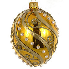 "Shiny Gold Egg Shaped Swirl on Mouth Blown & Hand Decorated European 4"" Holiday Ornament"