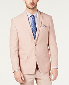 Men's Classic-Fit UltraFlex Stretch Pink Textured Suit Jacket