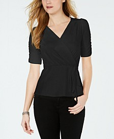 Petite Ruched Belted Top