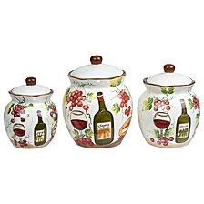 Lorren Home Trends Purple Grape Ceramic 3 Piece Deluxe Canister Set