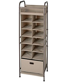 Vertical 12-Cubby Shoe Storage Organizer with Bin Drawer