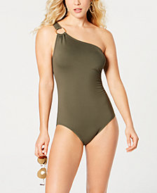 MICHAEL Michael Kors One-Shoulder One-Piece Swimsuit