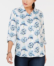 Charter Club Floral-Printed Linen Shirt, Created for Macy's