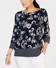 Charter Club Petite Border-Print Top, Created for Macy's