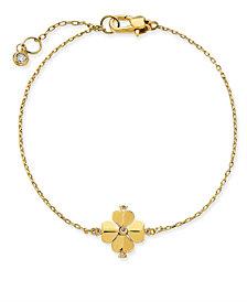 kate spade new york Gold-Tone Crystal Flower Flex Bracelet