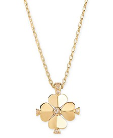 "Gold-Tone Crystal Flower 19"" Pendant Necklace"