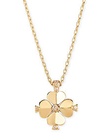 "kate spade new york Gold-Tone Crystal Flower 19"" Pendant Necklace"