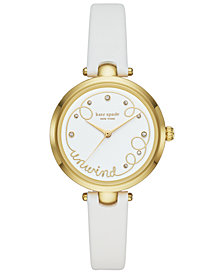 kate spade new york Women's Holland White Leather Strap Watch 34mm