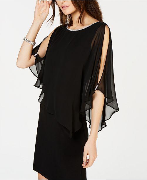 c9acbaca79cd MSK Petite Overlay Rhinestone X-Back Dress & Reviews - Dresses ...