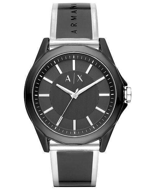 A|X Armani Exchange Men's Drexler Black Polyurethane Strap Watch 44mm